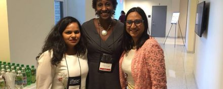 ReachIvy Founder, Vibha Kagzi and Chief Partnership Officer, Gaargi Desai with Shari Hubert, Associate Dean, McDonough School of Business, Georgetown University at AIGAC 2016