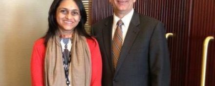 ReachIvy Lead Counselor, Grishma Nanavaty with Dean Dammon at Tepper Scool of Business, Carnegie Mellon University